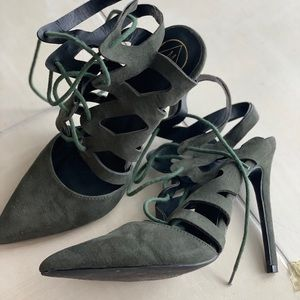 Misguided Hunter Green Pointed Lace Up Pumps